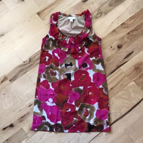 Ann Taylor LOFT Petites Floral Silk Shift Dress SP